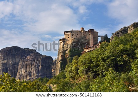 View on the beautiful Holy Monastery Roussanov at sunset time, Meteora, Greece
