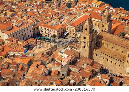 view on the Cathedral Square of Cefalu from the mountain over the city, Sicily - stock photo