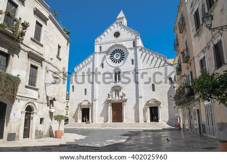 View on the center of Bari, Italy and Bari Cathedral square - stock photo