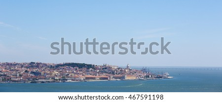 View on the center of Lisbon, Portugal, from across the river Tagus, with the Castle of Sao Jorge, Lisbon Cathedral and the Pantheon.