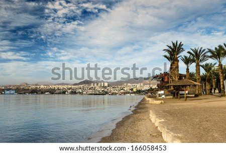 View on the central beach of Eilat - famous resort city in Israel