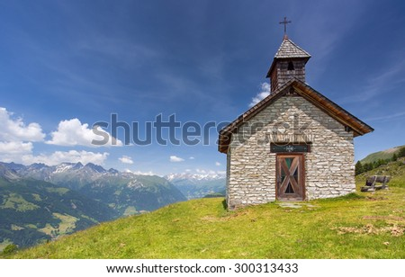 View on the chappel near Grossglockner mountain in Hohe Tauern national park,Austria