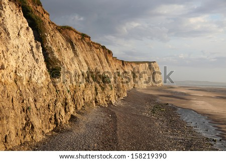 View on the cliff and the beach at the cap Blanc-nez, in the north of France near Boulogne-Sur-Mer and Calais. - stock photo