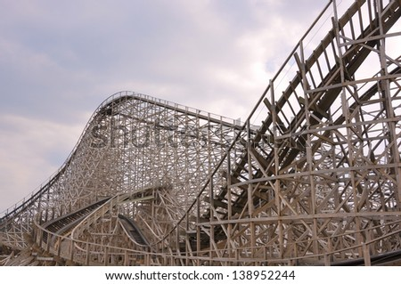 View on the construction of a large wooden rollercoaster - stock photo