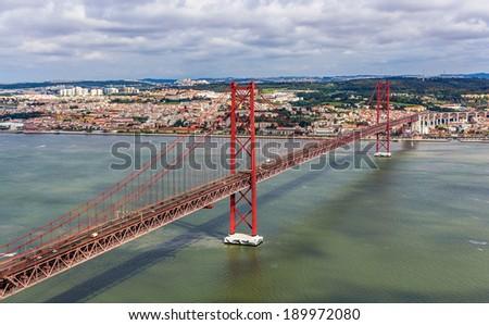 View on The 25 de Abril Bridge - Lisbon, Portugal - stock photo