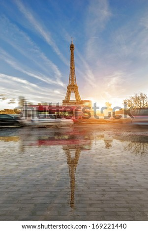 View on the Eiffel tower from the Trocadero Paris France  - stock photo