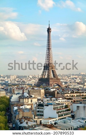 View on the Eiffel Tower from Triumphal Arch. France. Paris.