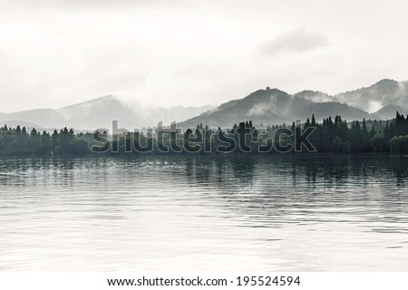 View on the enchanting West Lake, Hangzhou, China  - stock photo