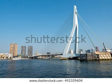 View on the Erasmus Bridge, also called The Swan, on the Maas river in Rotterdam. It is Holland's largest combined cable-stayed bascule bridge.