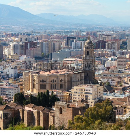 View on the famous cathedral of Malaga, Andalusia, Spain. - stock photo