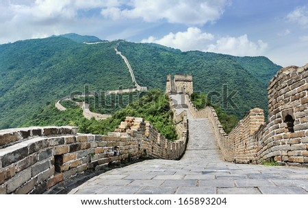 View on the famous Great Wall, Beijing, China - stock photo