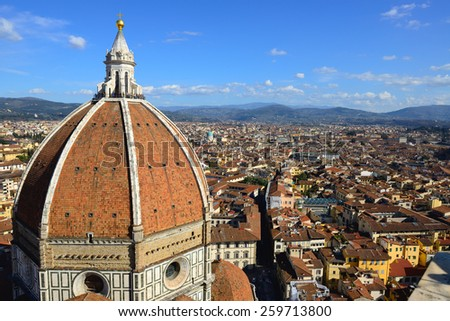 view on the Florence Cathedral from the Bell tower, Florence, Italy - stock photo