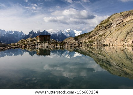 View on the french Alps from the lake Blanc near Chamonix. - stock photo