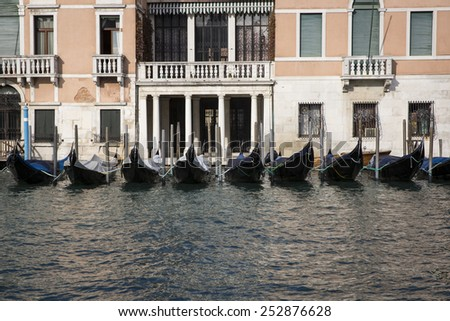 View on the Grand Canal with gondolas aligned, Venice Italy  - stock photo