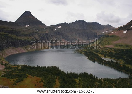 View on the Hidden Lake in the National Glacier Park Montana USA