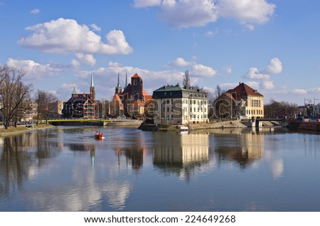 View on the islands in Wroclaw, Poland - stock photo