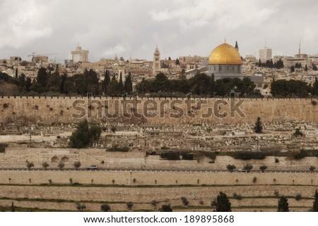 View on the landmarks of Jerusalem Old City,  - stock photo