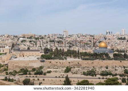 View on the landmarks of Jerusalem Old City - stock photo