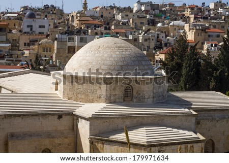View on the landmarks of Jerusalem Old City, east side . - stock photo