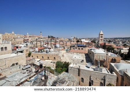 View on the landmarks of Jerusalem Old City, Israel. - stock photo