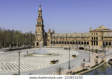 View on the large square of Plaza De Espana, Seville. - stock photo