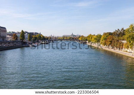View on the left bank of the Siene river and landmarks of Paris, France. - stock photo