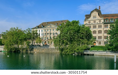 View on the Limmat river in Zurich in a summertime morning.