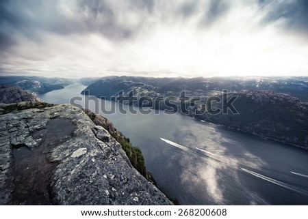 View on the Lysefjord from Pulpit Rock. - stock photo