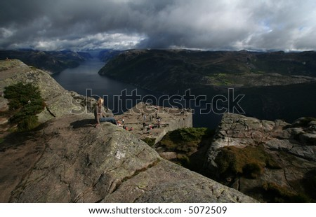 View on the Lysefjord, Norway, from Preikestolen