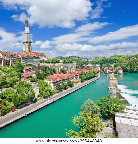 View on the magnificent old town of Bern, capital of Switzerland - stock photo