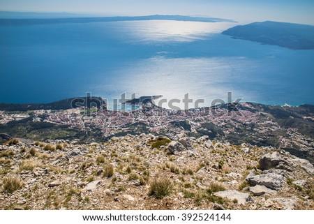 View On The Makarska Riviera Coastline From Biokovo Mountain - Biokovo Nature Park, Dalmatia, Croatia  - stock photo