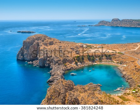 View on the Mediterranean sea from ancient Lindos ruins at Rhodes, Greece. - stock photo