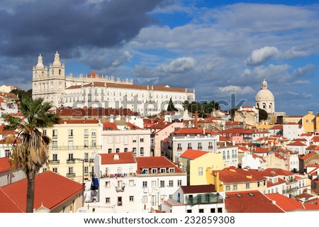 View on the Monastery of Sao Vicente de Fora from Miradouro Santa Luzia - stock photo