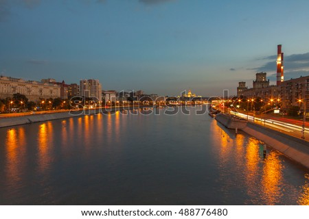 View on the Moscow river, Berezhkovskaya and Savvinskaya embankments in the evening, summer urban cityscape