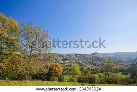 View on the natural scenery near the village of Pelm in the Vulkaneifel district in Rhineland-Palatinate, Germany. - stock photo