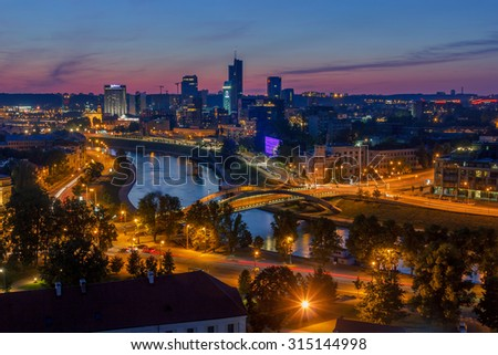 view on the night city of Vilnius and river