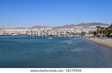 view on the northern beach of the Aqaba gulf in Eilat city - stock photo