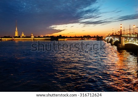 View on the Peter and Paul fortress and Palace bridge in St. Petersburg, Russia - stock photo