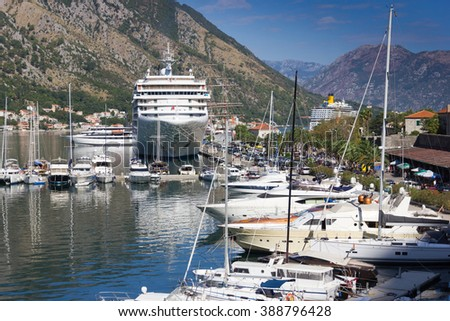 View on the pier with  boats in Kotor, Montenegro.
