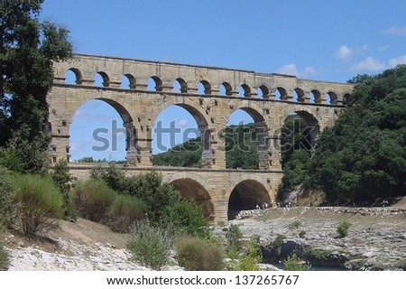 View on the Pont du Gard in Southeren France