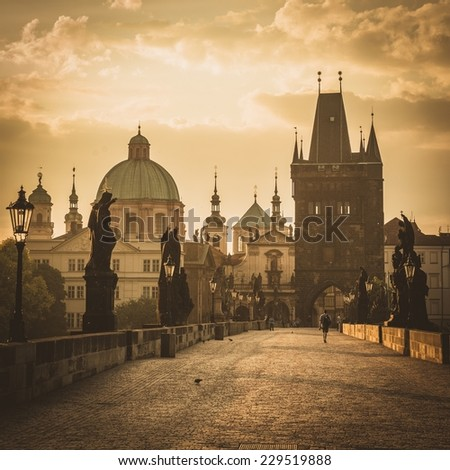 view on the Prague ,Charles bridge ,Lesser Bridge Tower