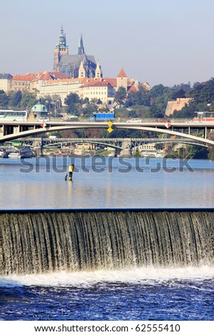View on the Prague gothic Castle above River Vltava - stock photo