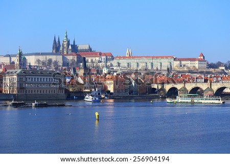View on the Prague gothic Castle with the Charles Bridge, Czech Republic - stock photo