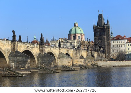 View on the Prague Old Town and Charles Bridge, Czech Republic - stock photo