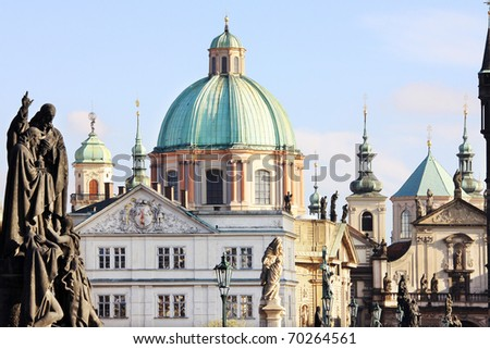 View on the Prague Towers - stock photo