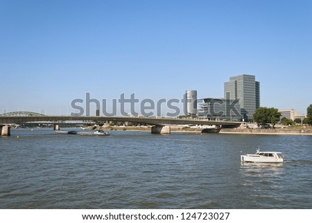 View on the river Rhine and Deutzer Bridge in the center of Cologne, Germany