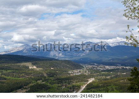 View on the rocky mountains and Jasper Canada from old fort point - stock photo