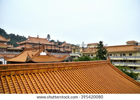 View on the roofs of Hongfa temple - stock photo