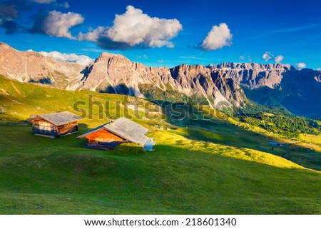 View on the Sassolungo (Langkofel) and Sella group, valley Gardena. National Park Dolomites, South Tyrol. Location Ortisei, S. Cristina and Selva, Italy, Europe. - stock photo