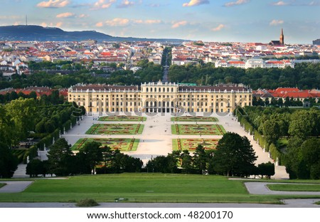 View on the Schonbrunn palace in Vienna, Austria. - stock photo